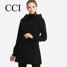 CCI Women wool jacket casaco feminino winter double breasted hooded coat jacket women Winter wool coat S-3XL size CCI052-55
