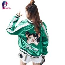 Women Basic Coats 2016 Fashion Women Bomber Jacket Long Sleeve Casual Cat Embroidery Coat chaquetas mujer jaqueta feminina
