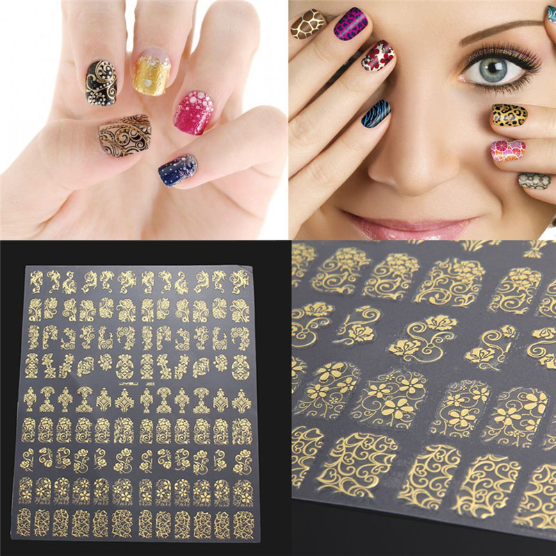 108Sheet 3D DIY Nail Stickers Golden Silver Pink Flower Design Nail Art Stickers Decal Manicure Nail Tips Design Decal 1 sheet beautiful nail water transfer stickers flower art decal decoration manicure tip design diy nail art accessories xf1408
