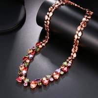 HERMOSA JEWELRY 36PCS. Multicolor gem Rose gold Sterling Silver Necklace 20 DW20