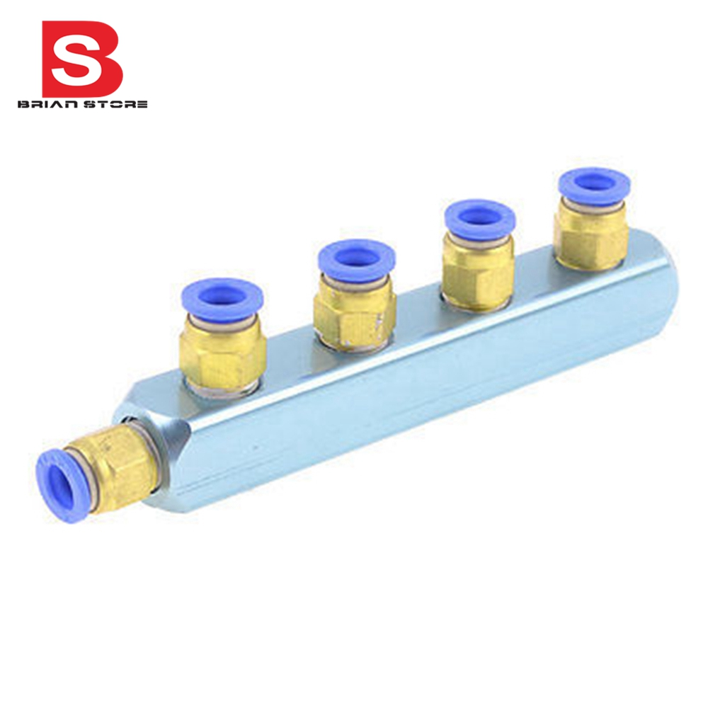 12mm Pneumatic Air Hose 5 Way Push in to Connect Quick Coupler Fitting silver tone sky blue piping fitting 5 way air hose multi pass quick coupler sml 5