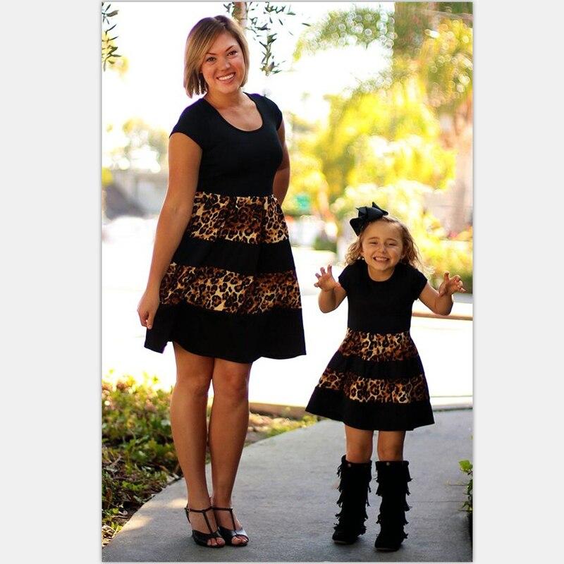 Mother Daughter Matching Women Kids Girls Leopard Dress Skirt Outfits Clothes