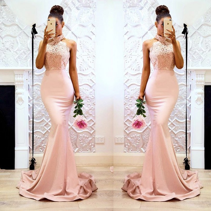 Halter Lace Applique Pearl Beaded Satin Mermaid Bridesmaid Gown Silver/Coral/Pink Cheap Bridesmaid Dresses Fast Shipping