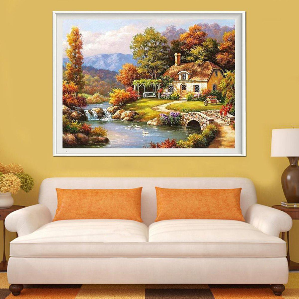 no frame canvas digital acrylic painting by number kit bridge river scenery canvas painting home room