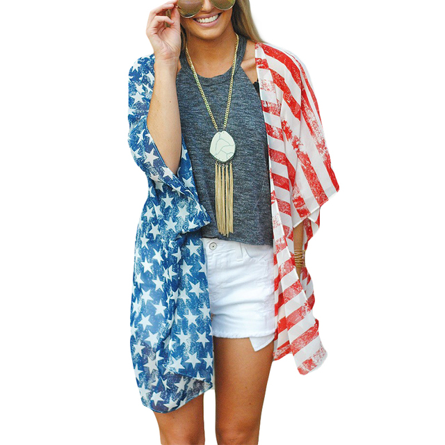 Independence Day American Flag Blouse Summer Cardigan Women ...