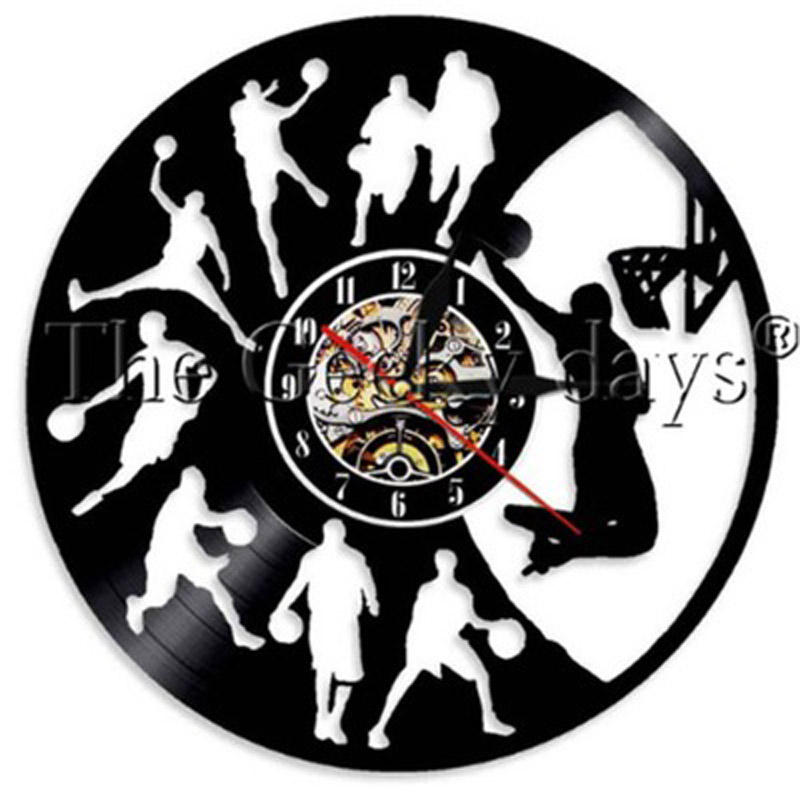 Basketball Vintage Vinyl Record Wall Clock Basketball Jump Slam Dunk Shot Sports Clcoks Wall Watch Gifts For Basketball Player