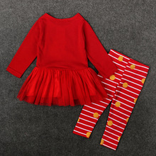Christmas  Baby Girls Sets Santa Claus 2pcs Sets Deer Print Suit Kids Long Sleeve Children Clothes