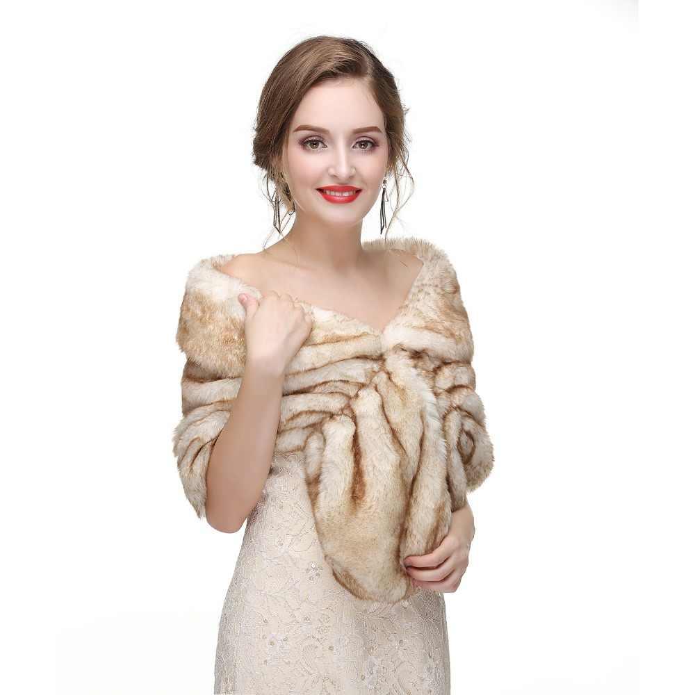 Forevergracedress 2019 Elegan Lembut Musim Gugur Musim Dingin Bulu Imitasi Pengantin Pernikahan Membungkus Bolero Jaket Bridal Mantel Selendang PJ427