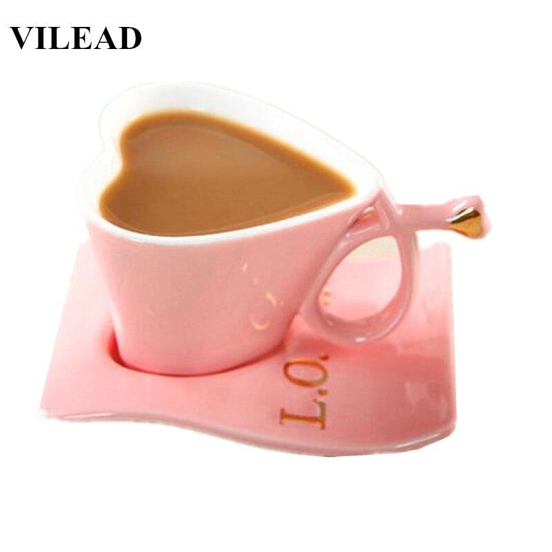 VILEAD, кофейная кружка в форме сердца для влюбленных, модная керамическая кружка для молока с тарелкой, чашка для утреннего чая для пары, чашка...
