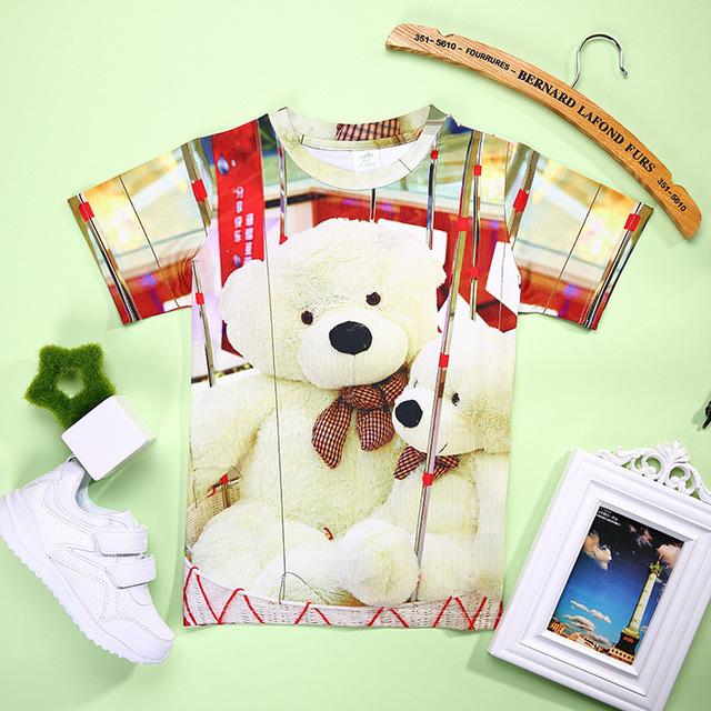 Hot 3D T camisas Do Bebê Da Menina de Verão 3D Teddy Impresso Tshirts Crianças Animais T para a Menina Criança Crianças Macias Camisetas