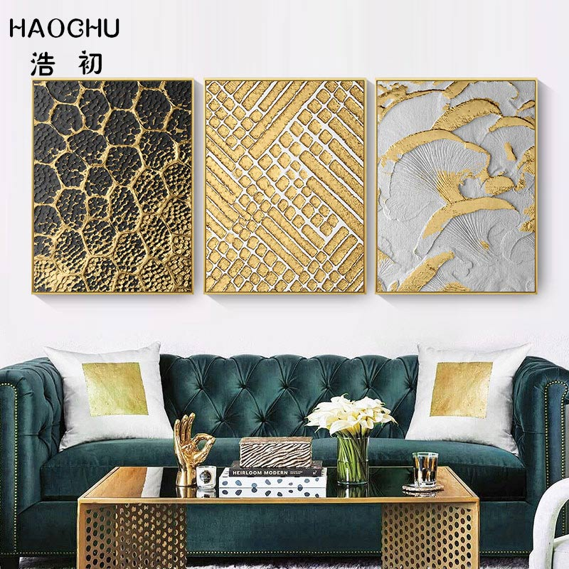 Nordic Poster Unframed Paintings Golden Pattern Leaves Circle Abstractionism Decorative Wall Art For Home Room Decoration circle