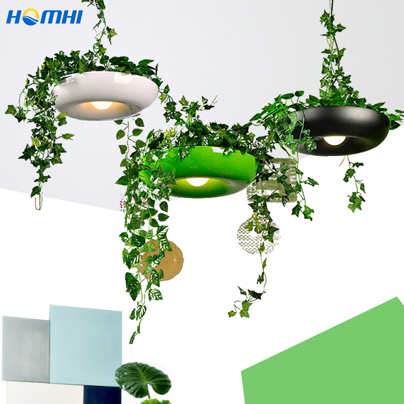 Country Flower Pot Lamp Dining Room Bar Counter Cafe Light Art Deco Italian Designer Lamp Potted Flower Plants Nordic Pendant