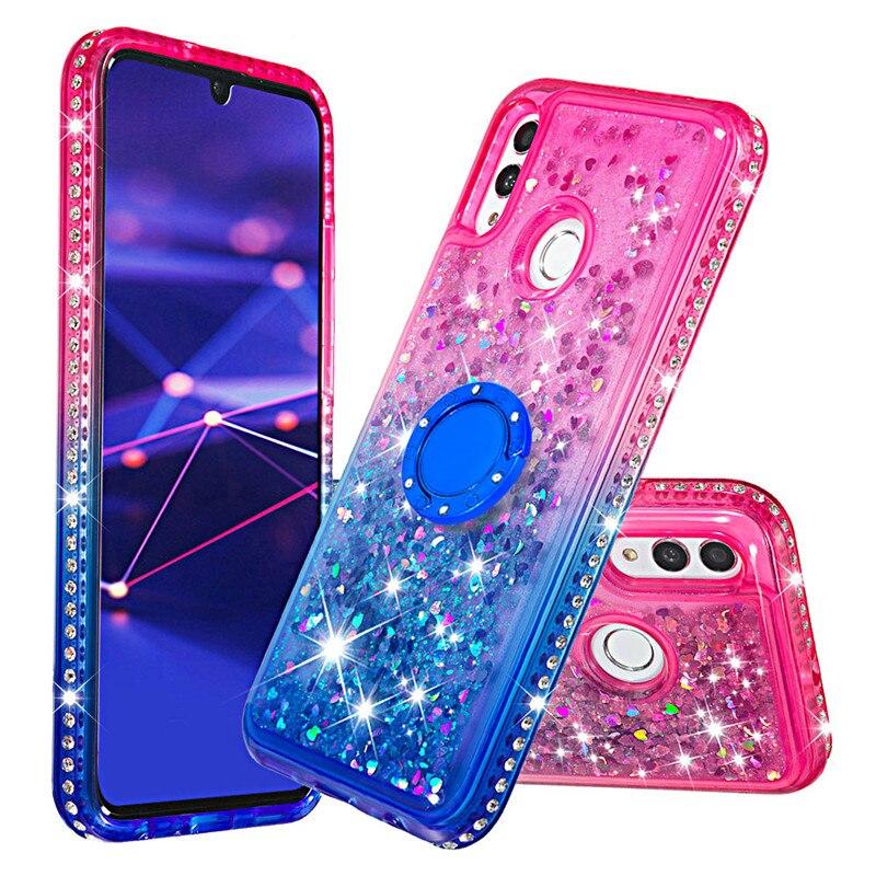 Diamante di Bling Liquido Sabbie Mobili Custodie per Huawei Compagno di 20 pro Compagno di 20 lite Titolare Anello Gradiente Posteriore Coque per Huawei honor10 lite