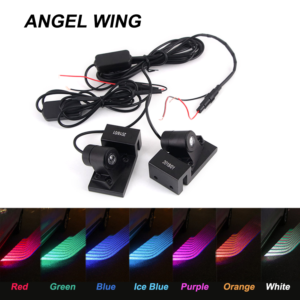 Shadow Projector Angel Wings Car Welcome Light Car LED Door Warning Light Lamp White Red Blue sunset horseman gobo door led projector light welcome lamp cree q5 ultra bright puddle light for lincoln corvette vw dodge 1527