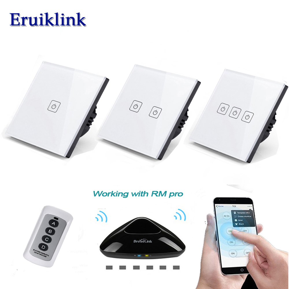 Eruiklink EU/UK 1/2/3 Gang Wireless Remote Control Wall Light Switch,White Crystal Glass Panel Touch Switch for Smart Home 2 gang 2 way wall light switch wireless remote control touch switch power for light crystal glass panel wall switch diy kit h3