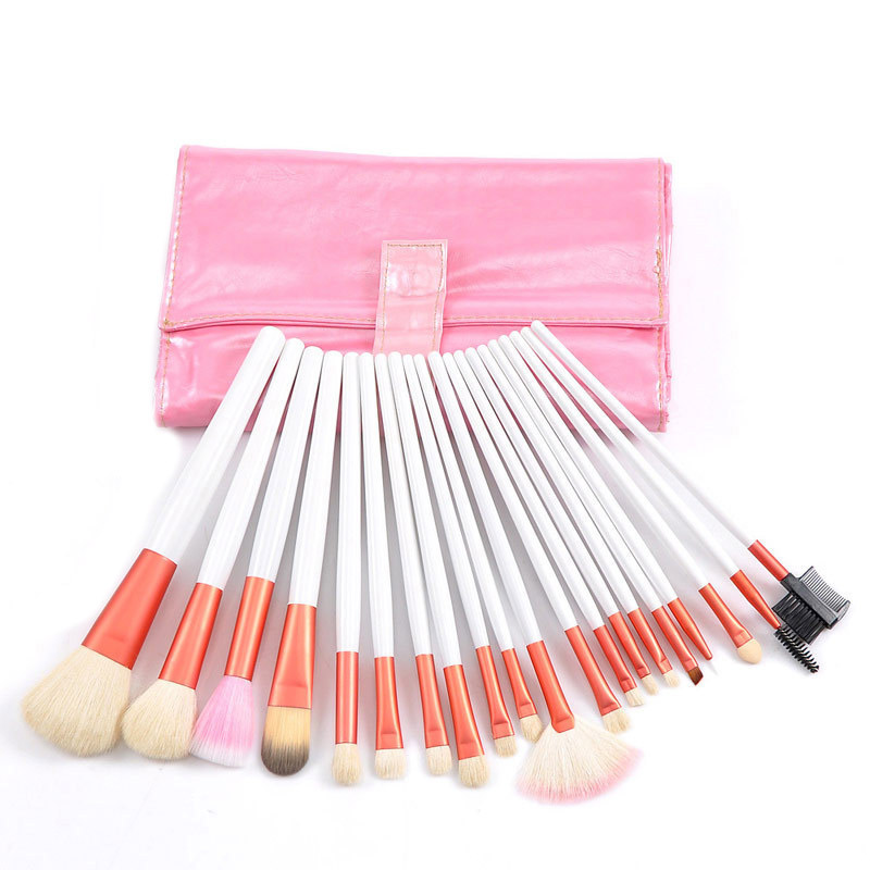 Free Shipping Dropshipping 20 PCS Pink Professional Makeup Brush Set Cosmetic Brush Pink Pouch Bag
