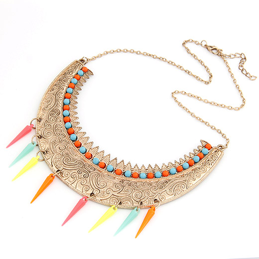 Free Shipping 2018 new jewelry European royal fashion noble colorful rivet beads exaggerated necklace female chain gold women