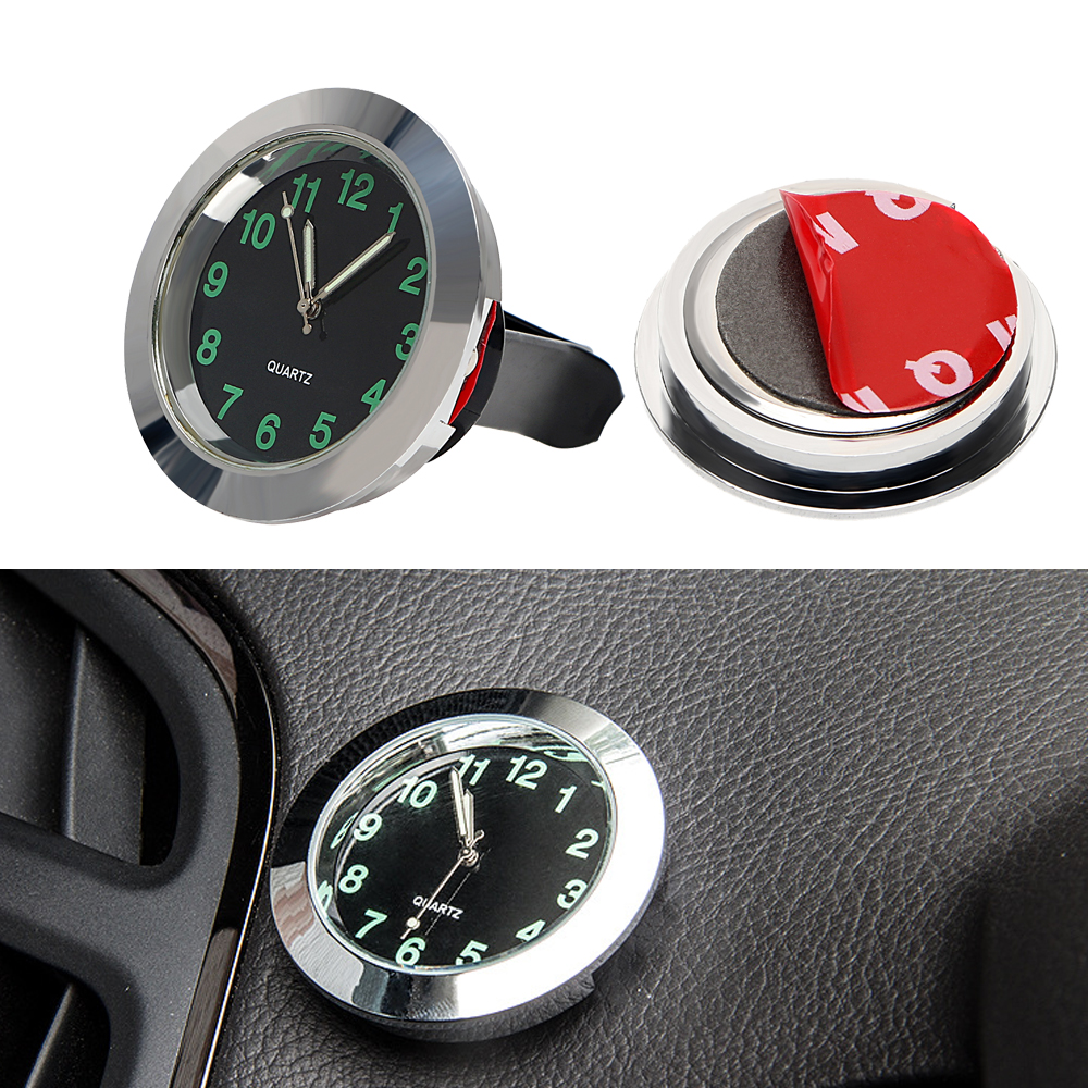 Car Clock Ornaments Mechanics Quartz Mini Car Air Vent Clip Clock Watch Car-Styling Auto Decoration Black Silver