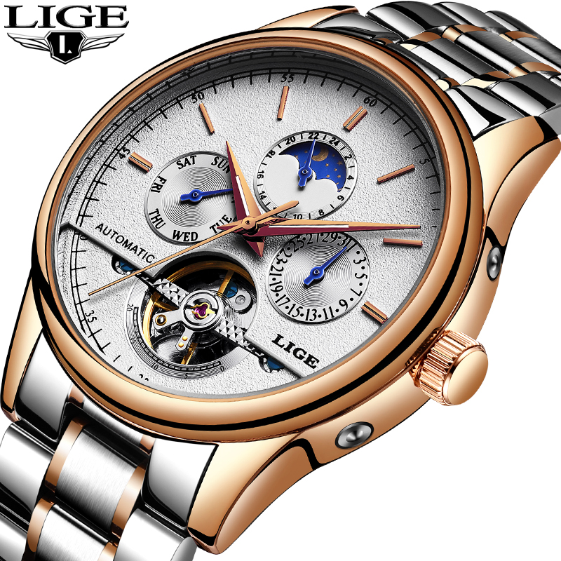 LIGE Men Watches Fashion Sports Top Luxury Brand Watch Men Business Waterproof Full Steel Mechanical Watch Relogio Masculino+Box|Mechanical Watches|   - title=