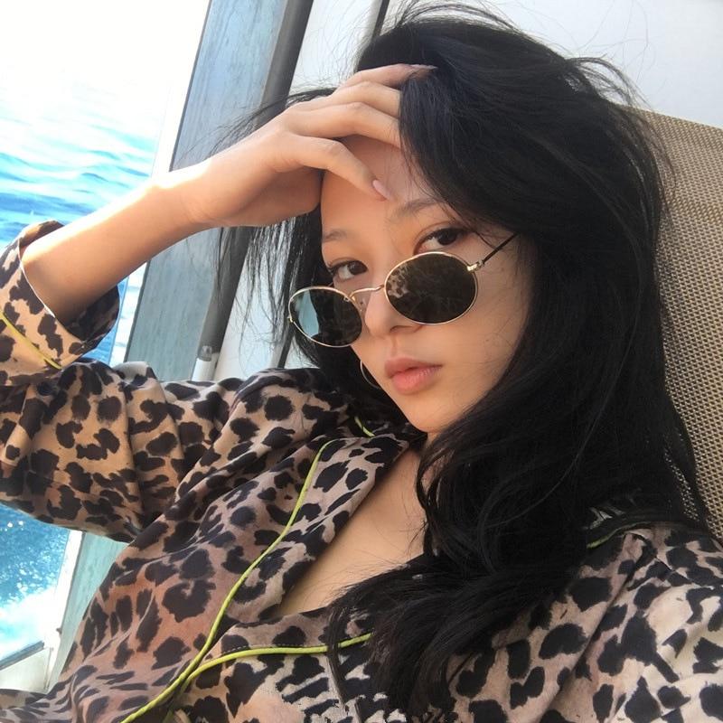 2019 Oval Women Sunglasses Men Glasses Lady Luxury Retro Metal Sun Glasses Vintage Mirror UV400 oculos