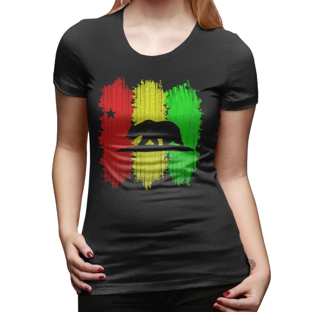Design t shirt china - Rasta California Republic T Shirts Women Hip Hop Cotton Cool Woman Tops Tee Short Sleeve O Neck Personality Design Womens Tshirt