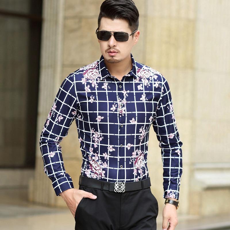 e5fdb44e60 Kirin fogo Camisa Flor Homens 2017 Slim Fit Camisas Xadrez Homens 6XL 7XL  Plus Size Mens Camisa Estampa Floral Chemise Homme Luxo T184 em Camisas  casuais de ...