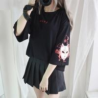Korean Harajuku Japanese Sweet Lolita Vintage Anime Fox Print Tee 3/4 Sleeve Back Lace up Loose T shirt Punk Black Cotton Tops