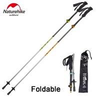 2Pcs NatureHike Ultralight Walking Sticks Mountaineering 5 Section Carbon Fiber Cork Adjustable Trekking Poles Telescopic Hiking