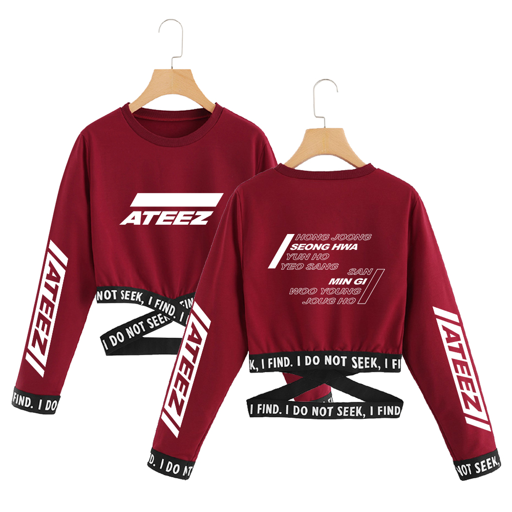 <font><b>2019</b></font> ATEEZ kpop <font><b>T</b></font>-<font><b>Shirts</b></font> TXT korean Summer <font><b>T</b></font> <font><b>shirt</b></font> crop top <font><b>women</b></font> clothes kpop <font><b>long</b></font> sleeve Fashion tops streetwear image