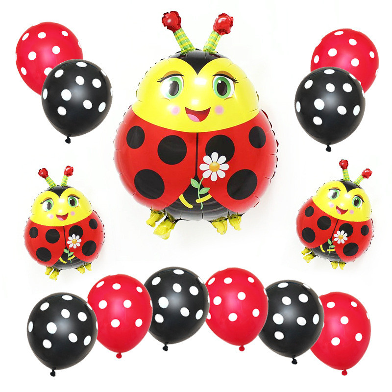 Taoqueen Cartoon Hat 13Pcs Bee Foil Balloons Black Yellow Polka Dots Latex Set Bees Pet Animal Birthday Party Decoration
