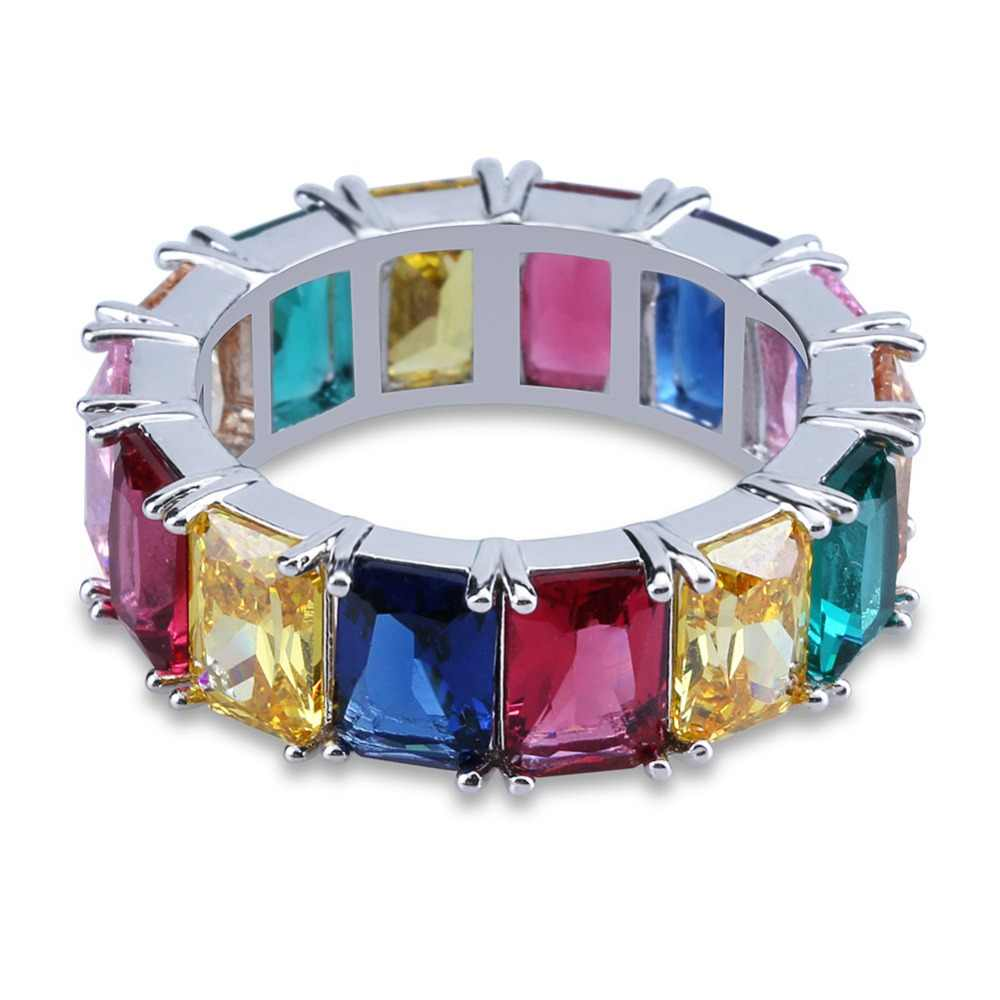 TOPGRILLZ Iced Out Cubic Zircon Multicolor รอบแหวน Hip Hop Gold Silver สี CZ เครื่องประดับของขวัญ