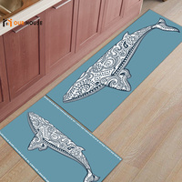 Ourhouse Geometric Art Whale Doormats For Entrance Way Bathroom Accessories Set Dirt Debris Mud Trapper Boot Shoes Scraper