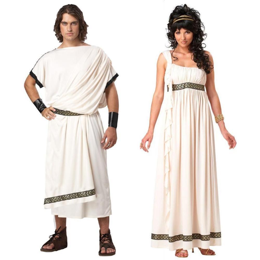 Greek Goddess Costume Women Blue//White Adult Athena Roman Fancy Dress Outfit