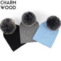 6 month 3 Years Old Baby Girls and Boys Beanie Hat Autumn Cotton Fox Fur Pompom Skullies Beanies Newborn Kids Plain Hats