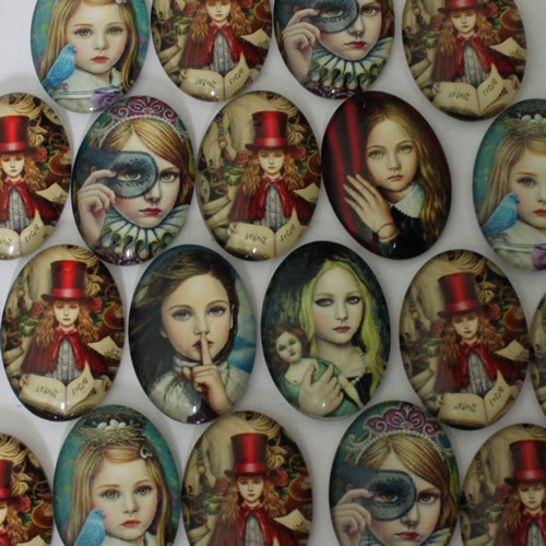 18x25mm Mixed Style Fashion Girl Oval Glass Cabochon Dome Jewelry Finding Cameo Pendant Settings 20pcs/lot (K02135)