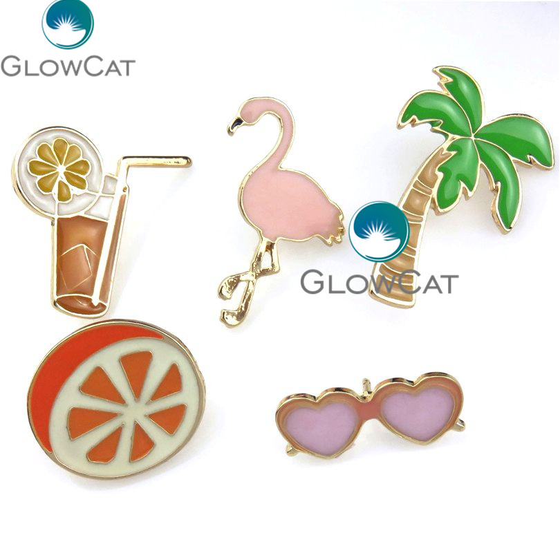 21844 New Coconut Tree Crane Flamingos Orange Juice Sunglasses Button Beach Shape Corsage Shirt Collar Brooch Pins Jewelry