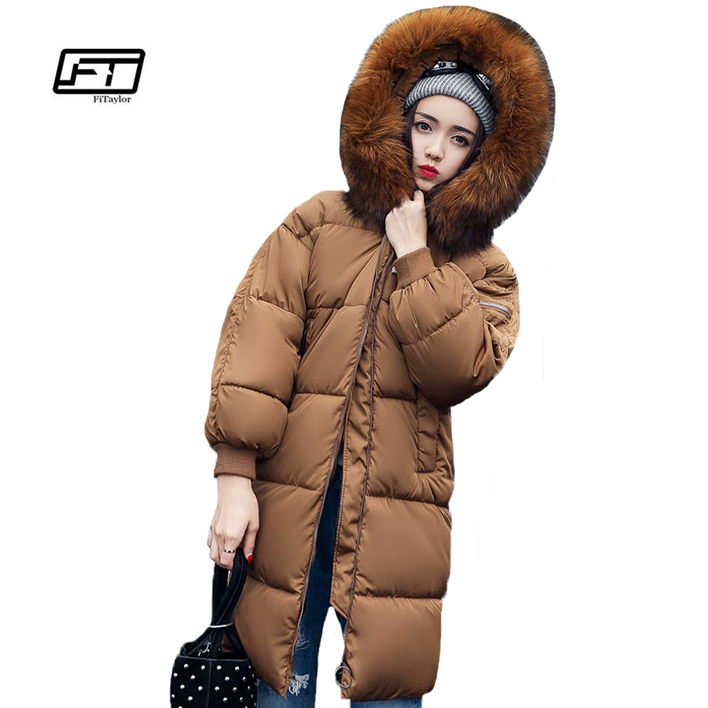 Fitaylor New Winter Women Cotton Coats Large Fur Collar Wadded Parkas Medium Long Warm Hooded Overcoats Padded Jacket new winter fashion large fur collar cotton parkas thick women cotton padded jacket solid color zipper long sleeve wadded coats