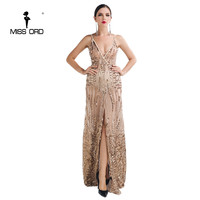 Free Shipping Missord 2016 Sexy V Neck Split Party Dress Sequin Maxi Dress FT5139 1