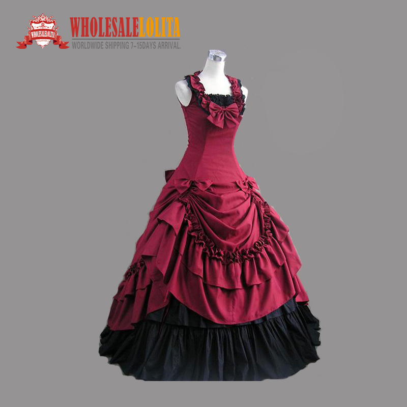 Top Sale Deep Red and Black Cotton Victorian Dress/Victorian Period ...