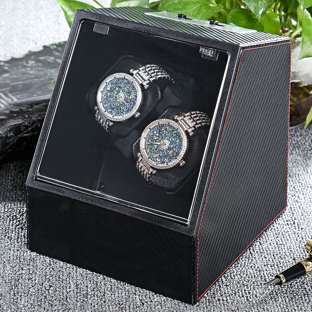 2017 New Watch Box Automatic Watch Winder Auto Silent Watch Winder Transparent Cover Watch Display Case Wristwatch Boxes Holder watch winder lt wooden automatic rotation 2 0 watch winder storage case display box white