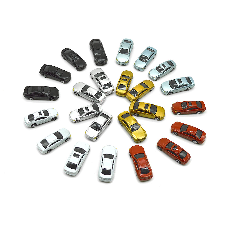 10//30/50/100pcs 1/100 Scale Model Car Architectural Toys Painted Model Cars Toys For Miniature Model Building Layout Kits