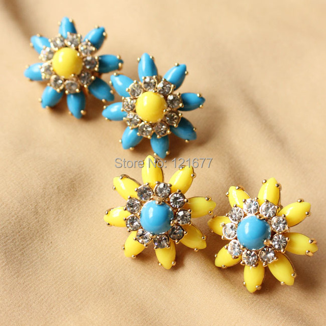 New High Quality Bohemia Summer Jewelry Big Flower Brand Designer Resin Glass Statement Earrings for Women Brinco