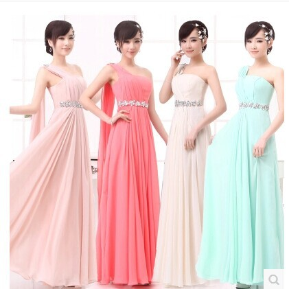 Long Chiffon Bridesmaid Dresses waist diamond country dresses pink/mint green/white/red coulor B1 - Online Store 207659 store