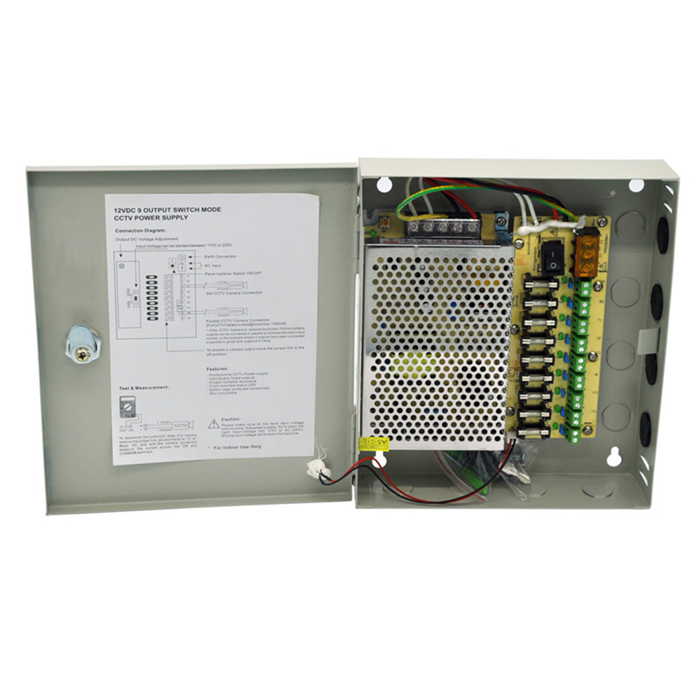 AC 100~240V to DC 60W 12V 5A Output 9 Channels CCTV Power Supply Box for Cameras security camera cctv power supply box dc 12v 5a 9 channels distribution box