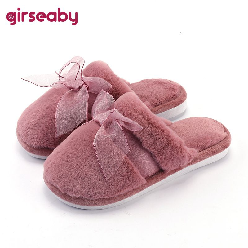 Girseaby 2019 new winter Slippers Round toe Cotton indoor shoes Bowtie Couple loves slippers Non-slip Fuzzy zapatos de mujer