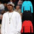 Nova chegada iverson cor sólida hiphop bboy Tshirt longo da luva tops tees camisola de beisebol do algodão desconto básico vermelho céu azul vermelho