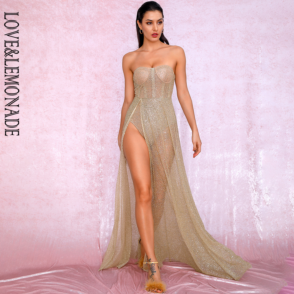 LOVE&LEMONADE Sexy Gold Strapless Tube Top Glitter Material Split Poncho Maxi Dress LM81971 Autumn/Winter
