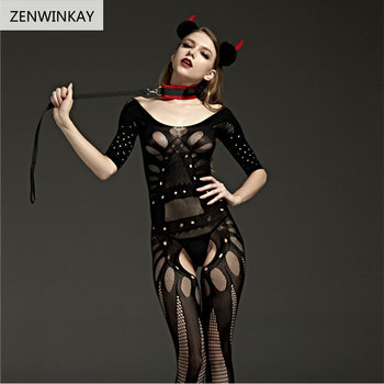 Female Black Body Stocking Sex Porn Lingerie Underwear Women Erotic Apparel Lingerie Sexy Hot Erotic Open Crotch Fishnet Teddy