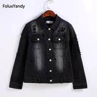 Отверстие Джинсовые куртки для женщин; Большие размеры 3 4 XL отложной воротник тонкий Повседневное Основная куртка верхняя одежда черный ...
