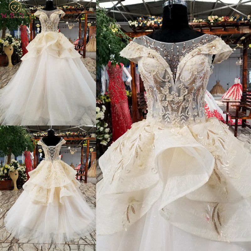 100 Real Wedding Dress 2019 Luxuris Vestido De Noivas Lace Cap Sleeves Beaded Tiered Ball Gown
